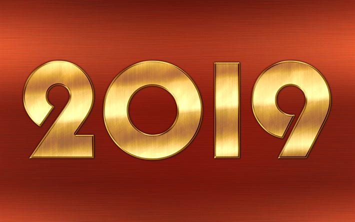 Download wallpapers 4k, Happy New Year 2019, bronze