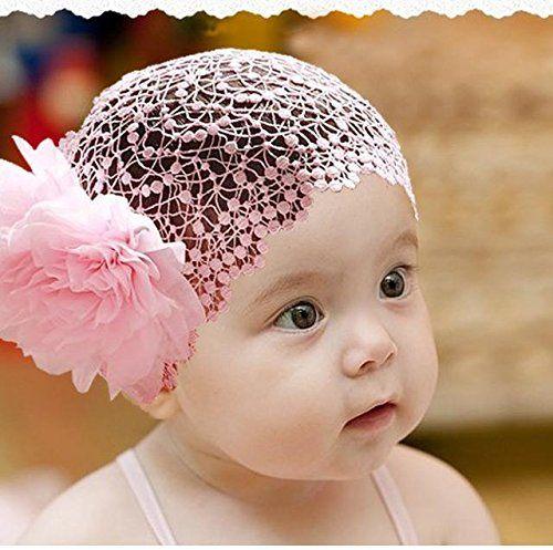 Baby Kinder Stirnband Blumen Band Haarbänder Haarschmuck White