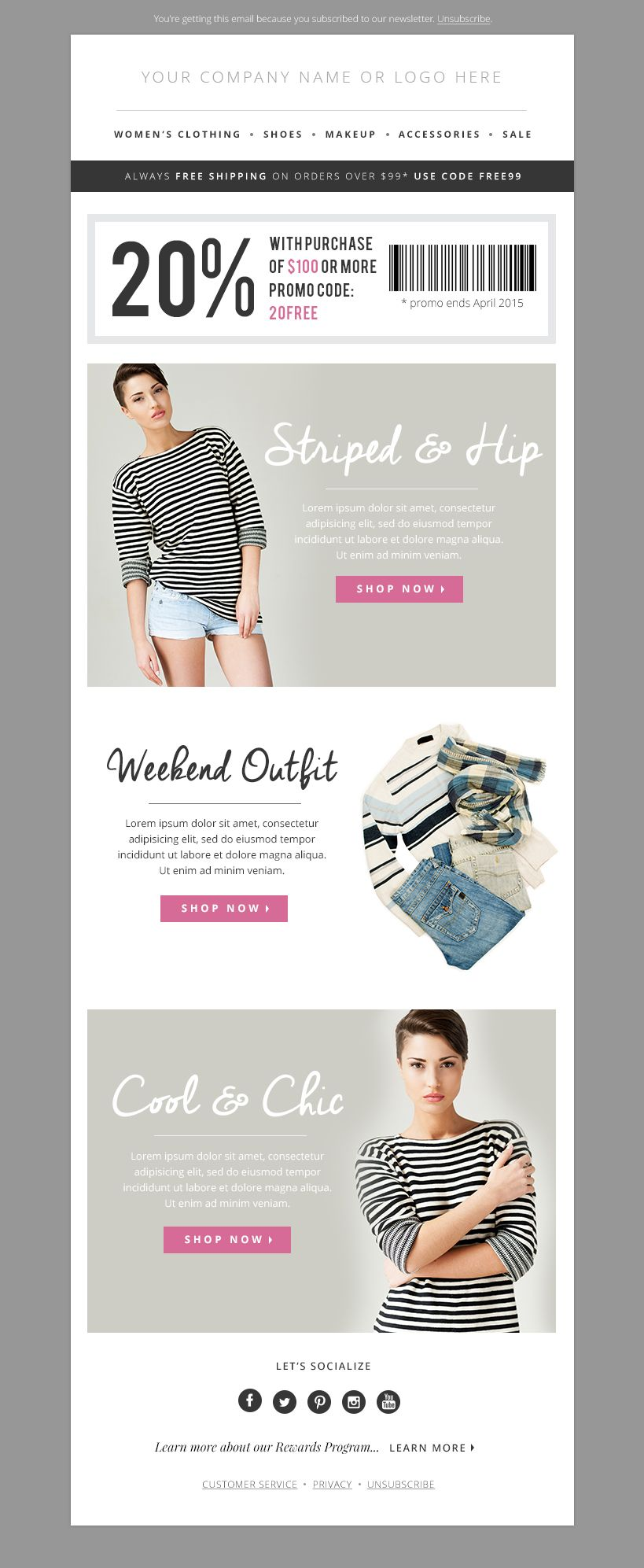 Fashion Email Template PSD Bundle | Template, Web banners and Email ...