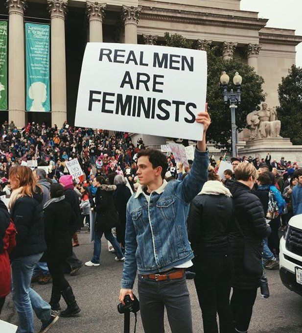 Women's March 2017 poster:  Real Men Are Feminists