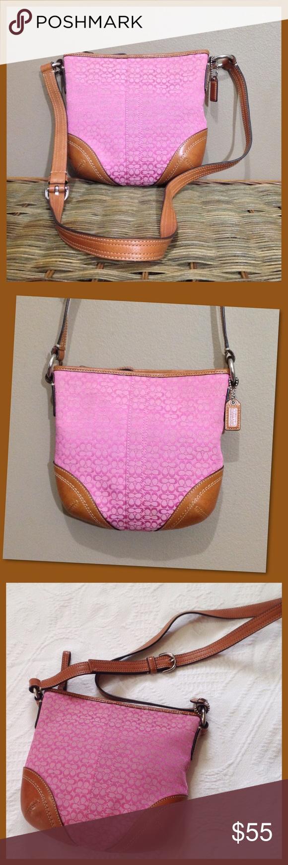 fedb1ae9ec0 Coach Slim Signature Crossbody Bag Mini pink signature jacquard and tan  leather trim with silver hardware