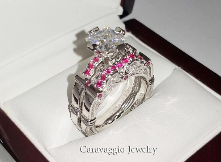 e4112e3b4010d3 Art Masters Caravaggio 14K White Gold 1.25 Ct Princess White and Pink  Sapphire Engagement Ring Wedding Band Set R623PS-14KWGPSWS