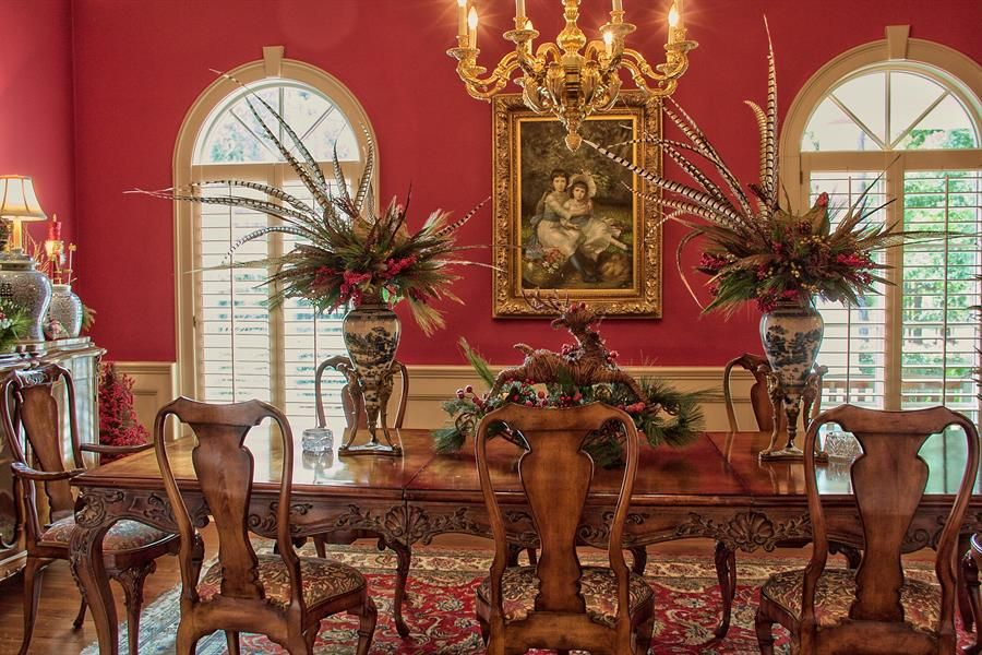 red dining room w ivory trim   Red dining room, Dining ...