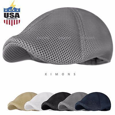 Soft-Mesh-Newsboy-Gatsby-Cap-Mens-Ivy-Hat-Golf-Driving-Summer -Sun-Flat-Cabbie caac71221d2