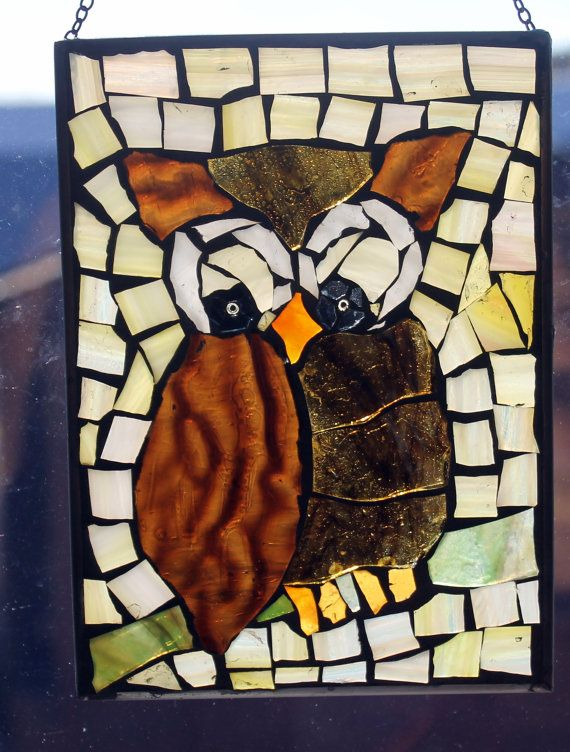 Mosaic Stained Glass Wise Owl Suncatcher Or Wall By