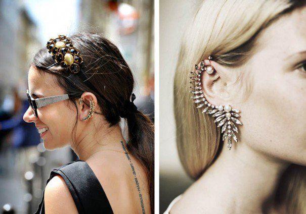 """Os brincos tipo piercing que """"sobem"""" pela orelha tem dado o que falar. Na passarela vimos no desfile da Chanel SS 2012 e nas ruas tem conquistado cada vez mais fãs. E vocês, gostam? Fotos: Reprodução"""
