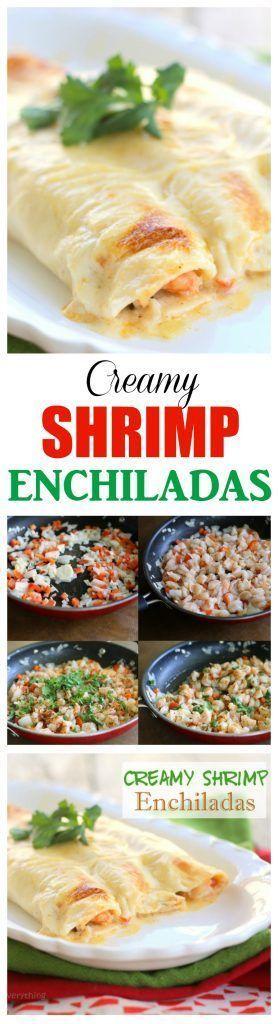 Enchiladas Creamy Shrimp Enchiladas - filled with veggies and shrimp and covered with a rich, creamy sauce. the-girl-who-ate-Creamy Shrimp Enchiladas - filled with veggies and shrimp and covered with a rich, creamy sauce. the-girl-who-ate-