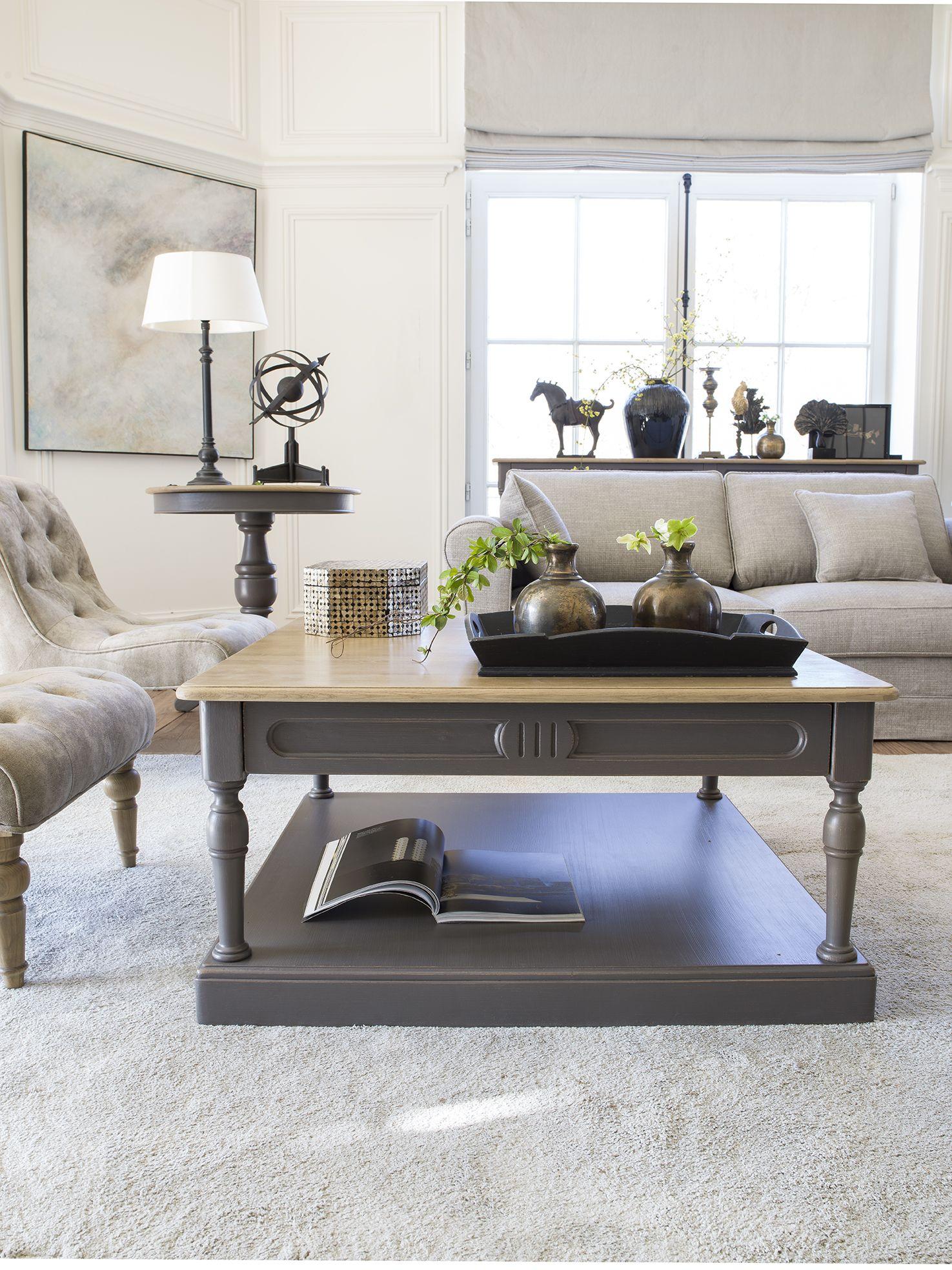 Table basse carr e taupe en pin manoir avec images Meuble salon taupe