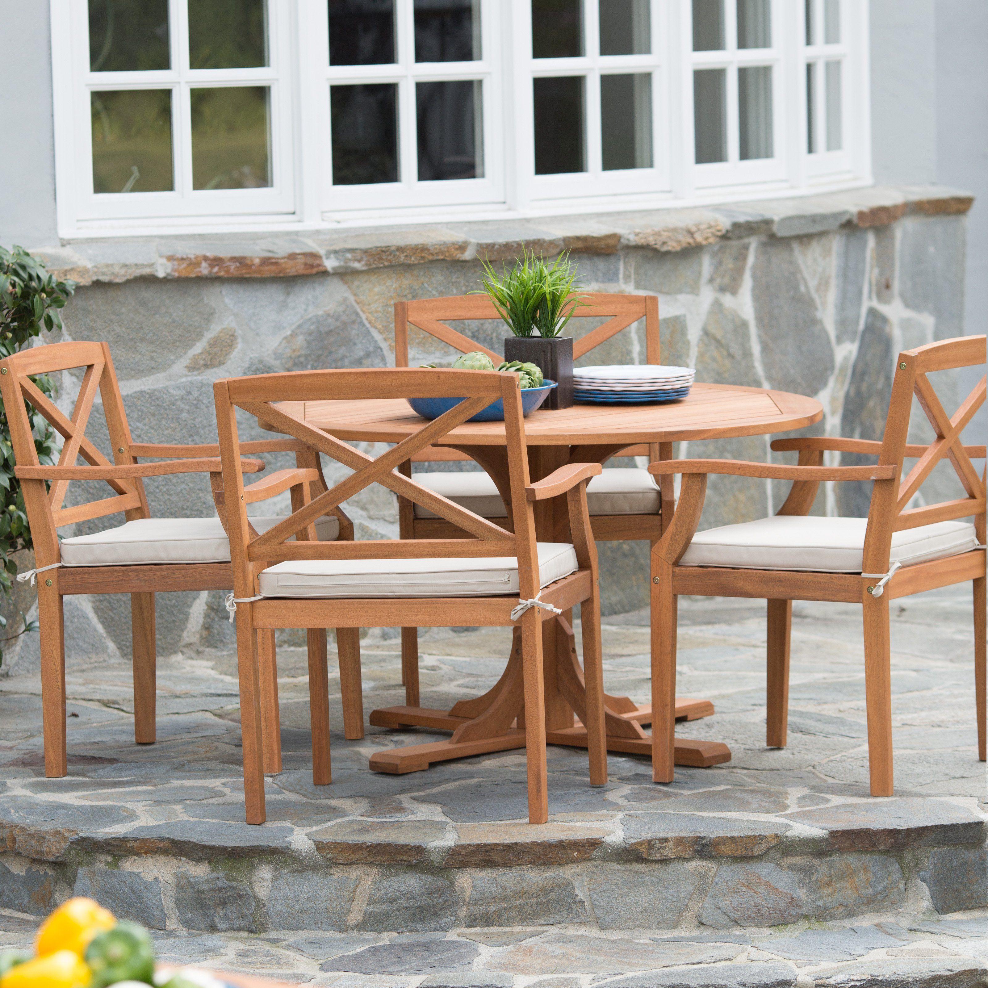 Belham Living Brighton Outdoor Wood Round Patio Dining Set   Seats