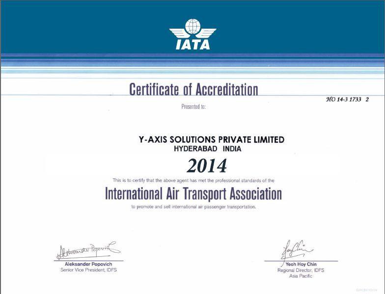 iata certificate certification president vice