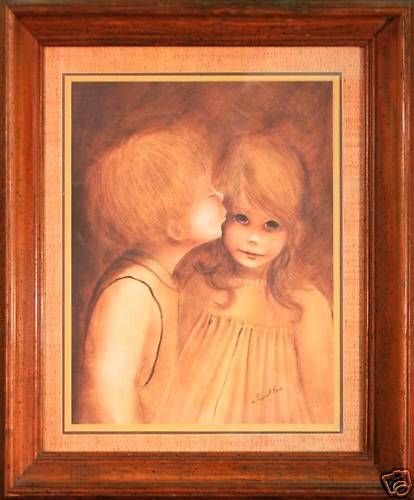 A Little Kiss Nicely Framed Print By Margaret Kane This Picture