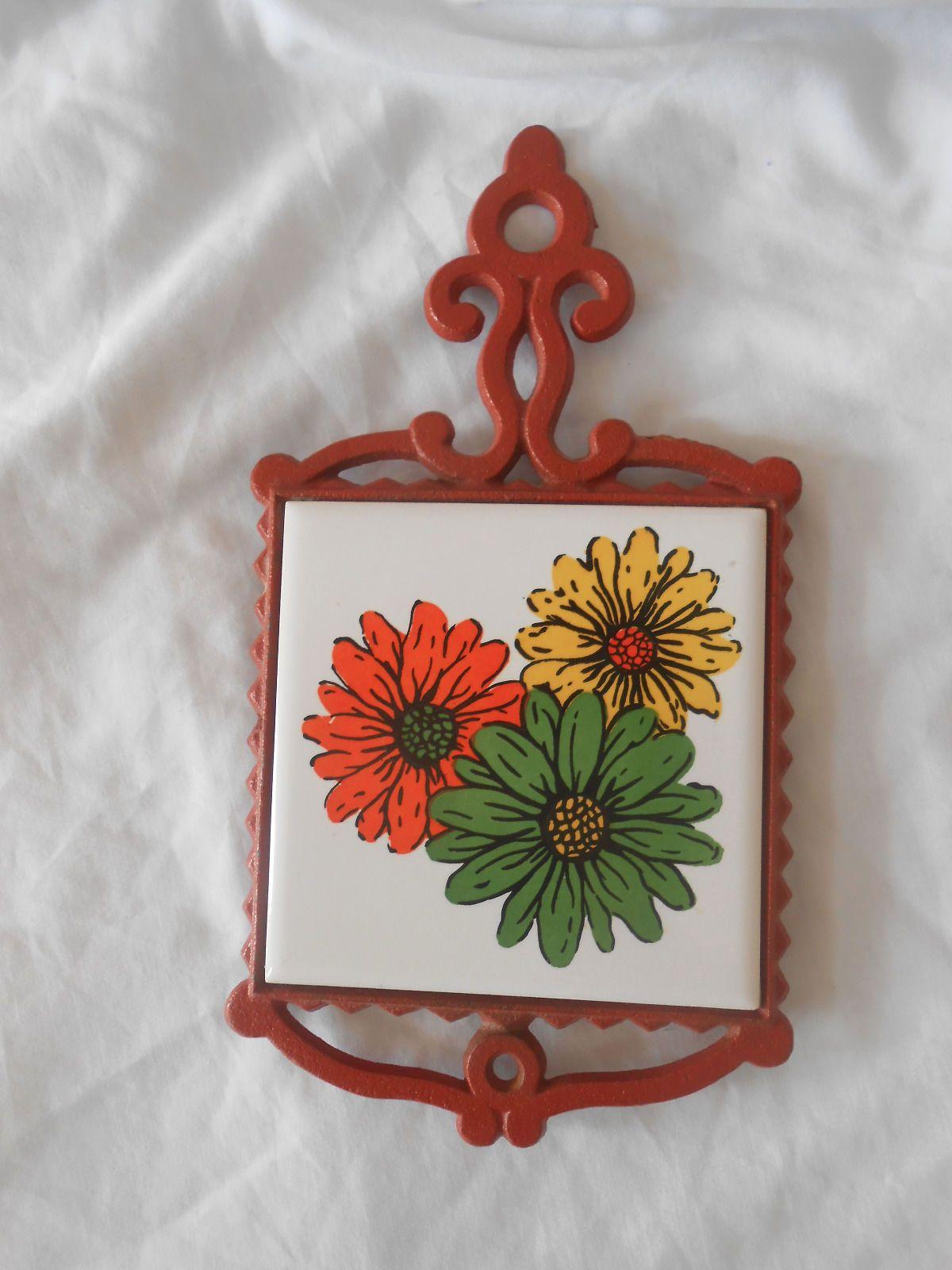 Vintage cherry cast iron ceramic tile trivet made in japan floral vintage cherry cast iron ceramic tile trivet made in japan floral design dailygadgetfo Images