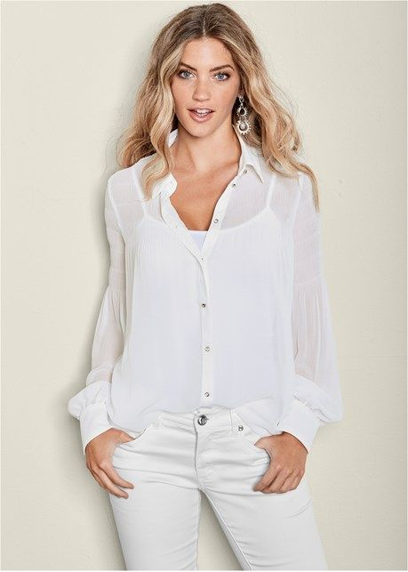 9935e995c0c22 Pleated Semi Sheer Blouse in White