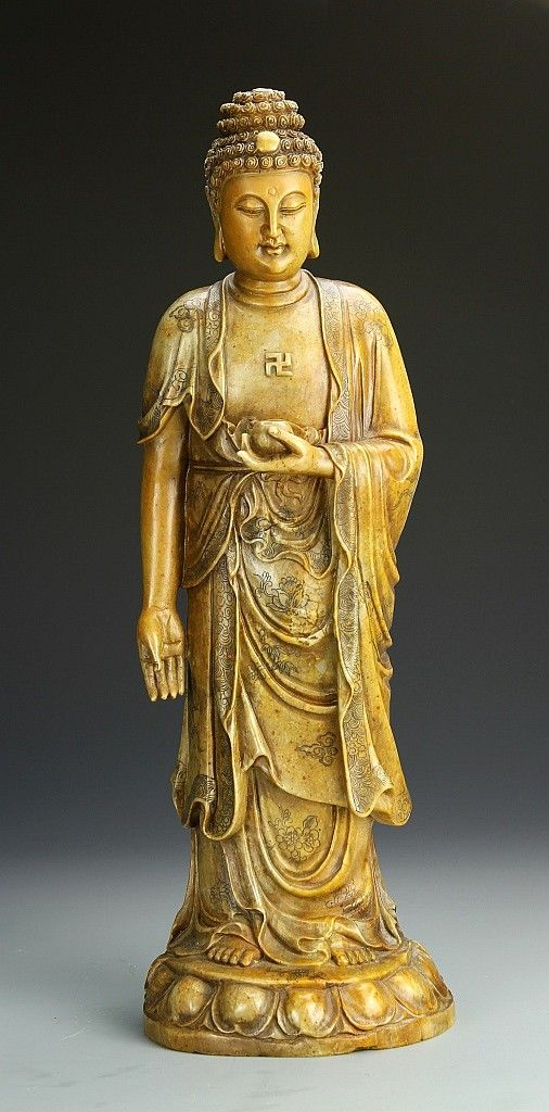 China, Shoushan Buddha figure, standing on lotus pedestal ...