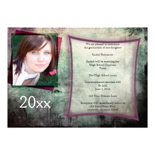 This cool grunge graduation announcement is a modern twist on a classic look. The background is grey, green, and purple with a grunge effect...