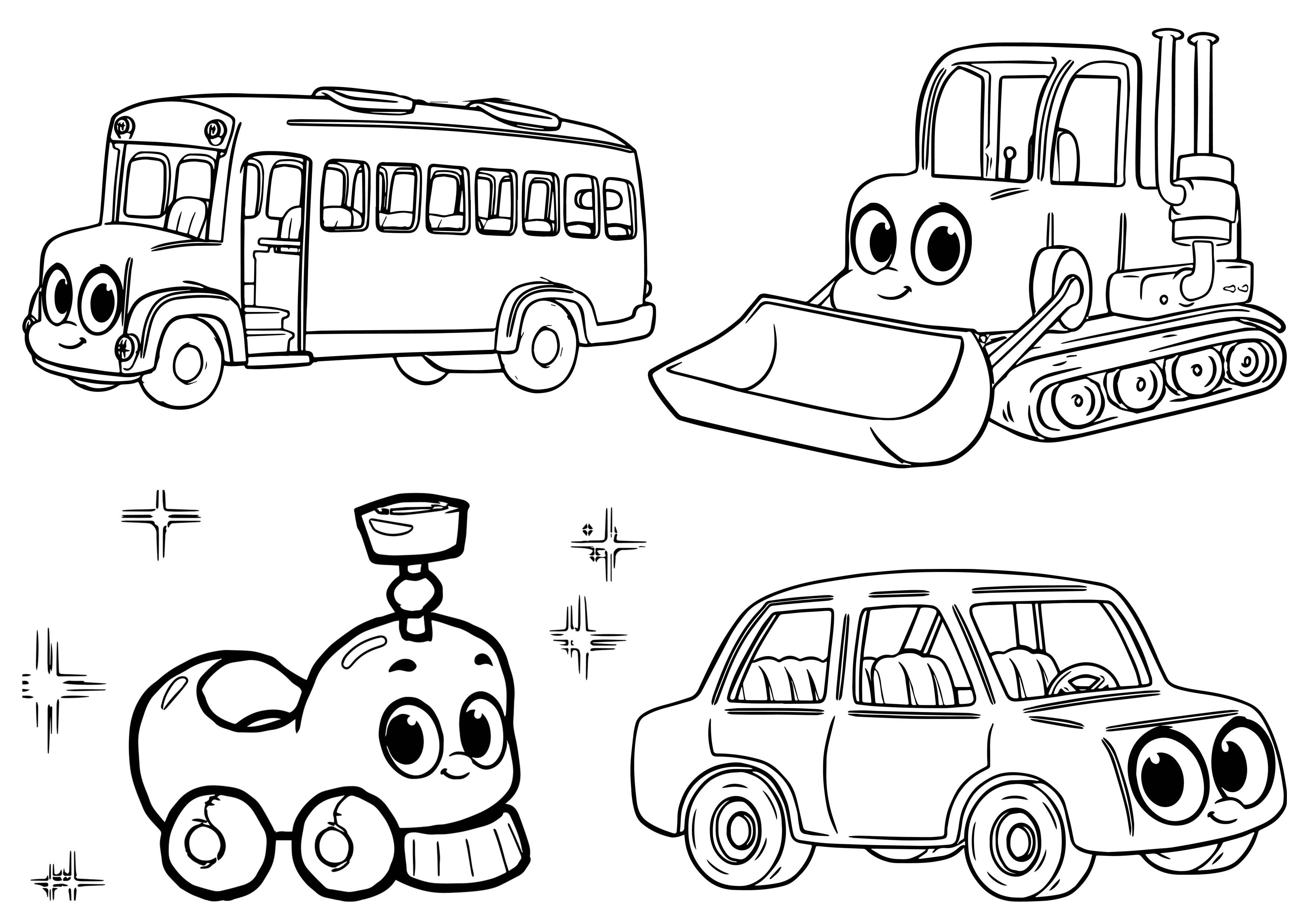 Morphle My Cute Coloring Pages. Mophle My Cute Cars And Vehicle