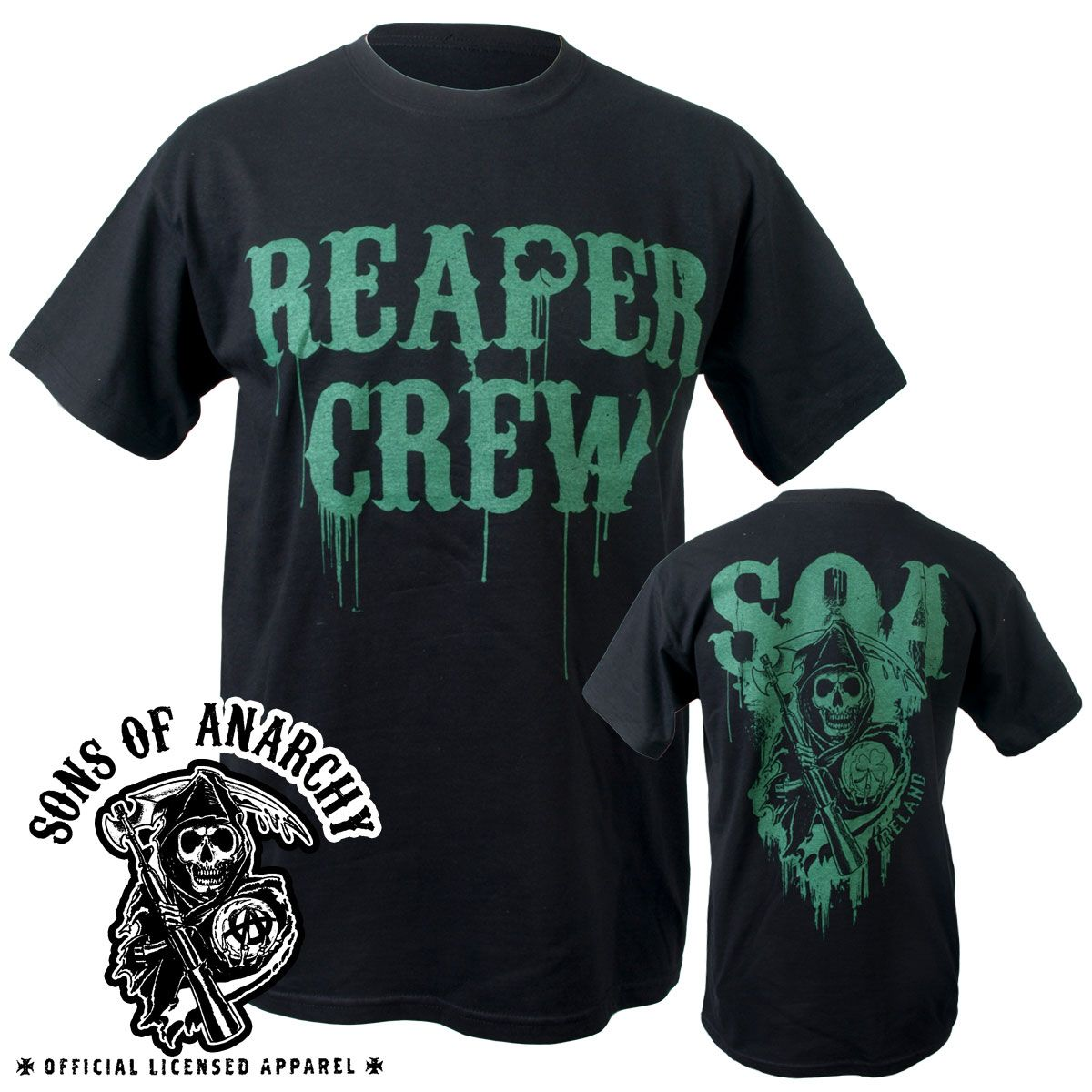 black bike tee with green reaper crew and clover on front. Black Bedroom Furniture Sets. Home Design Ideas