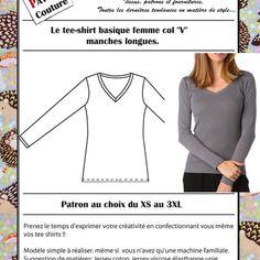 "Patron tee-shirt femme col ""v"" manches longues"