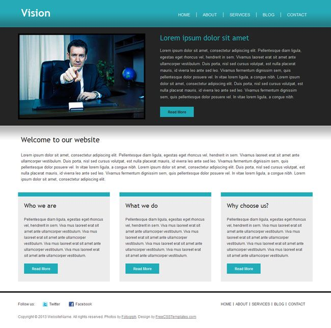 Vision is a free multipurpose HTML template for business, creative