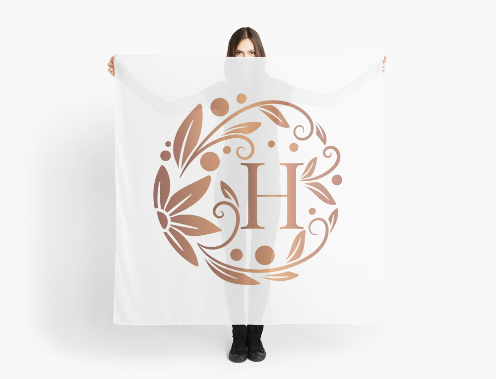 Personalized rose gold monogram with initial letter H. Luxury leaves pattern on a white background. Floral frame. • Millions of unique designs by independent artists. Find your thing. #shawl #neckerchief #bandana #apparel #hijab #style #scarves #woman #kerchief #pareo #gift #clothes #elegant #cravat #trends #handkerchief #neck #classic #fashion #modern