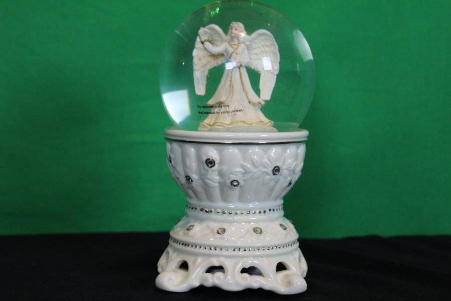 Vintage Porcelain Ceramic Angel Snow Globe Music BOX Decorative Collectible | eBay