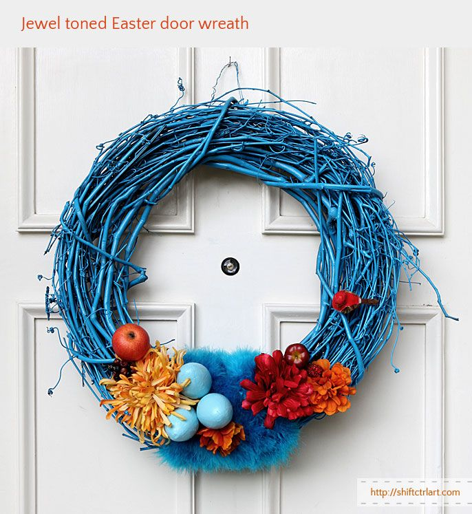 Egg and feather goes together - jewel toned Easter door wreath ...