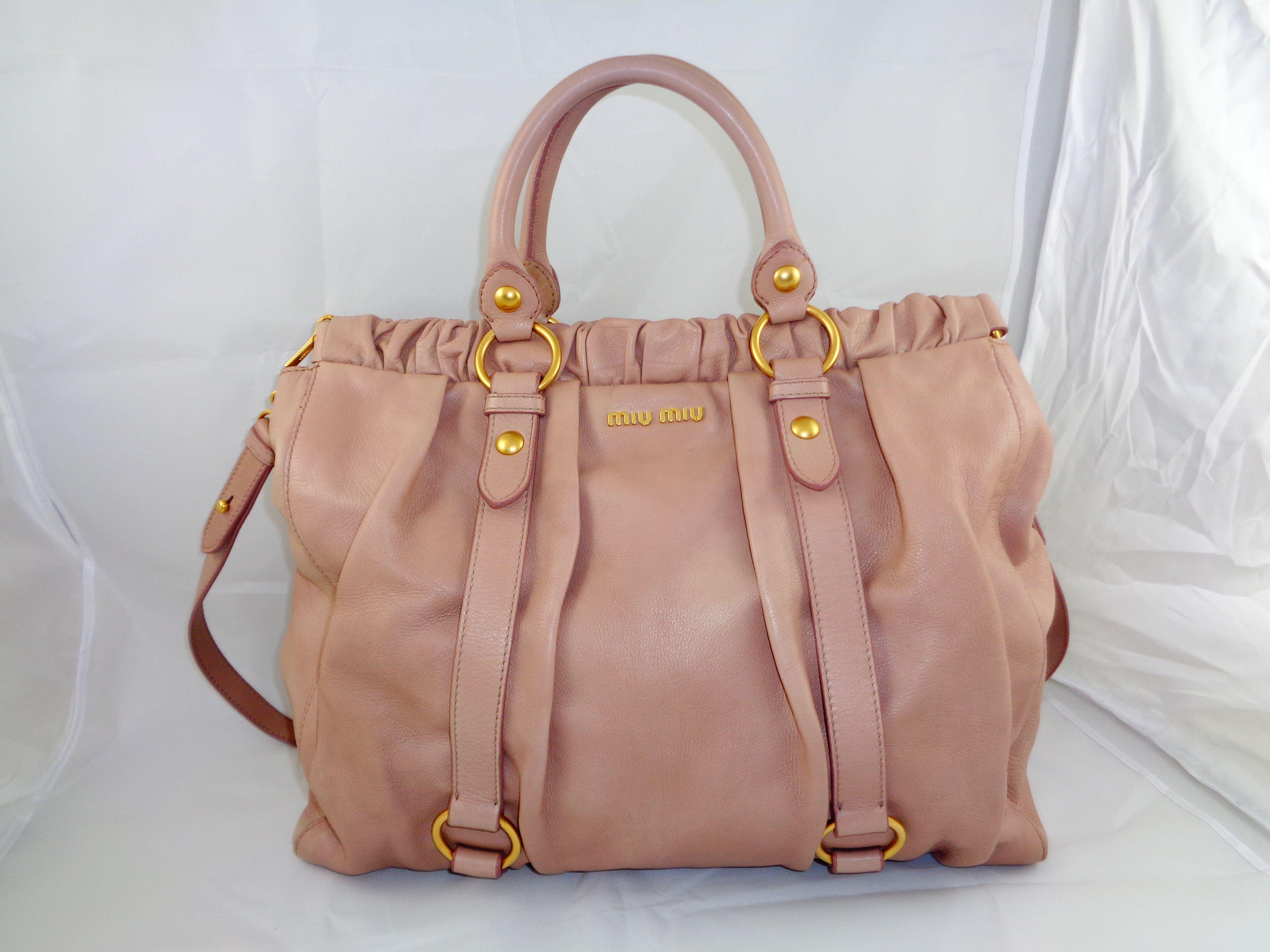 93f70a63d2f5 Miu Miu by PRADA Large Vitello Lux Calf Skin Satchel Shoulder Bag MSRP    1