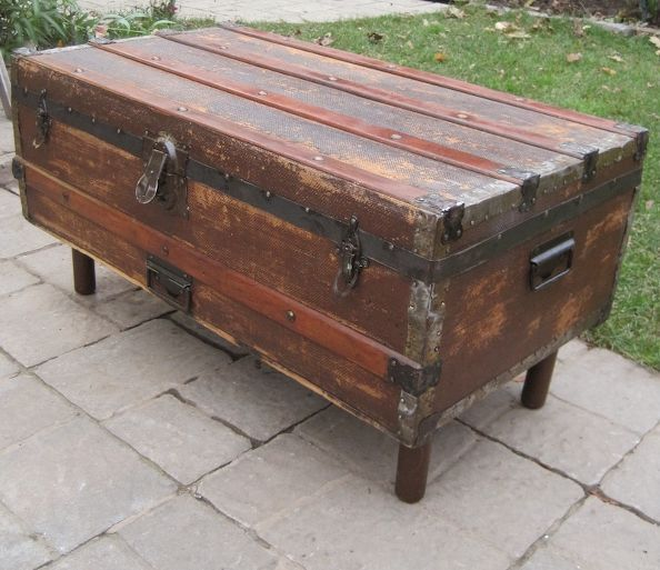 antique steamer trunk into coffee table - should the interior be