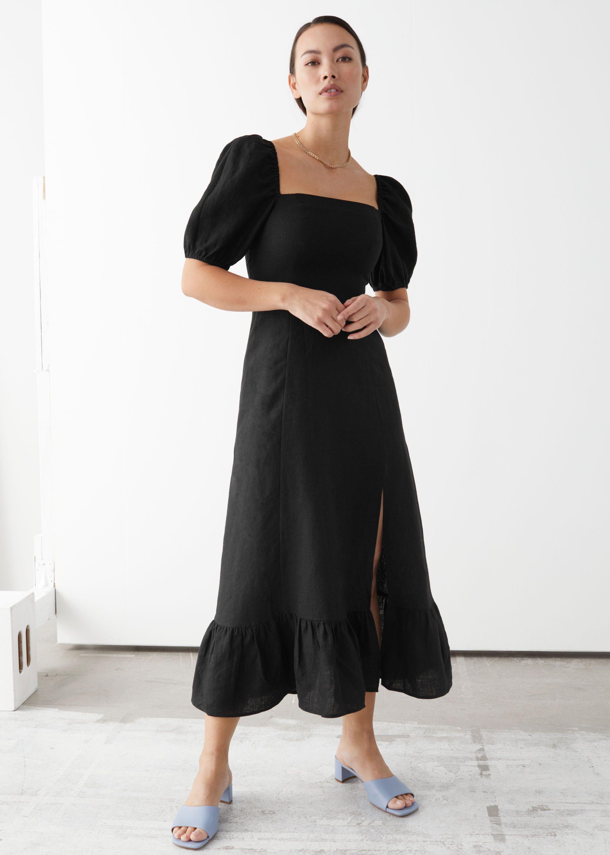 Linen Puff Sleeve Midi Dress Puff Sleeve Midi Dresses Midi Dress With Sleeves Puff Sleeve Dresses [ 2940 x 2100 Pixel ]