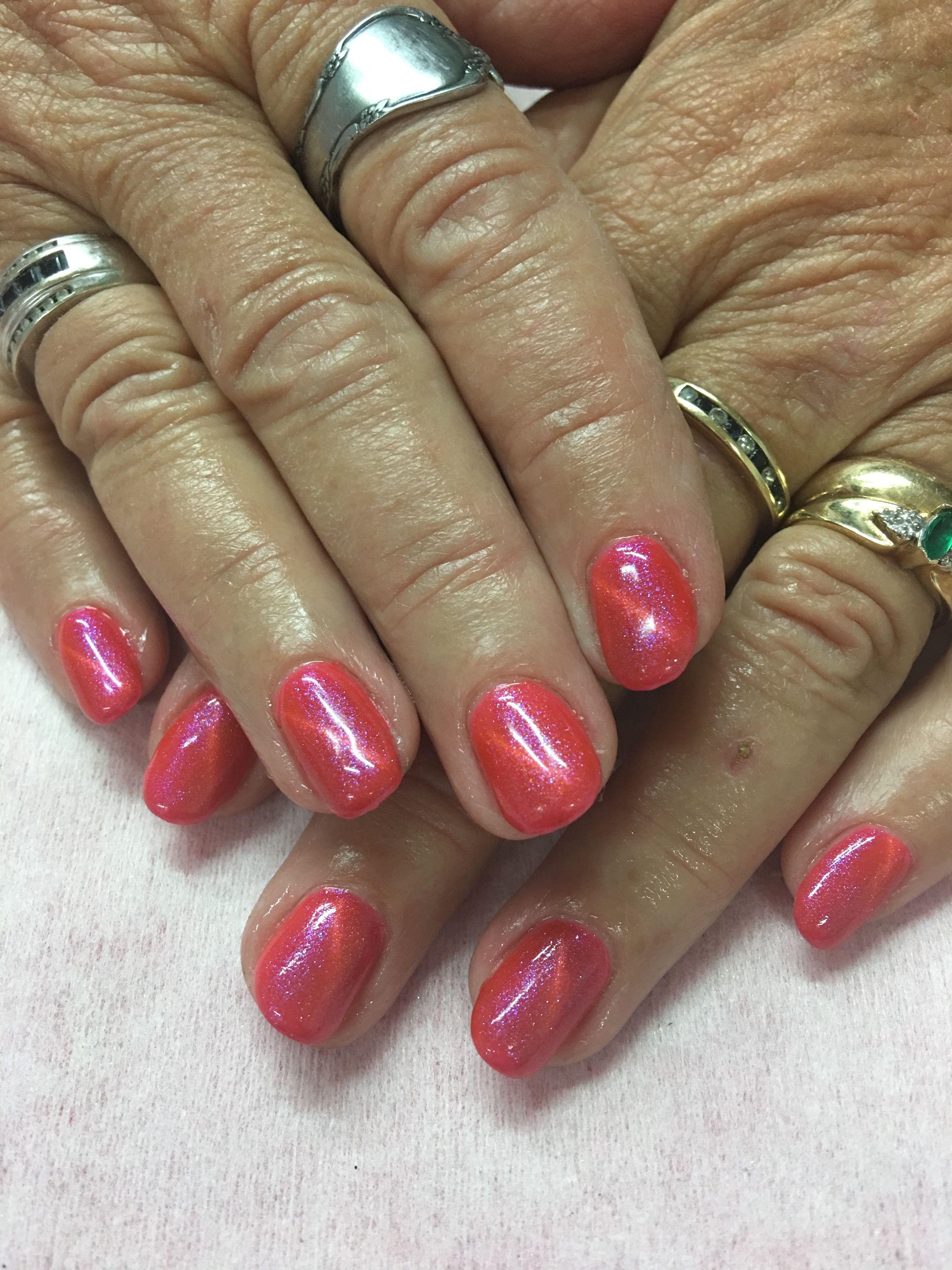 Coral Pink Orange Magnetic Gel Nails Gel Nail Designs Pinterest