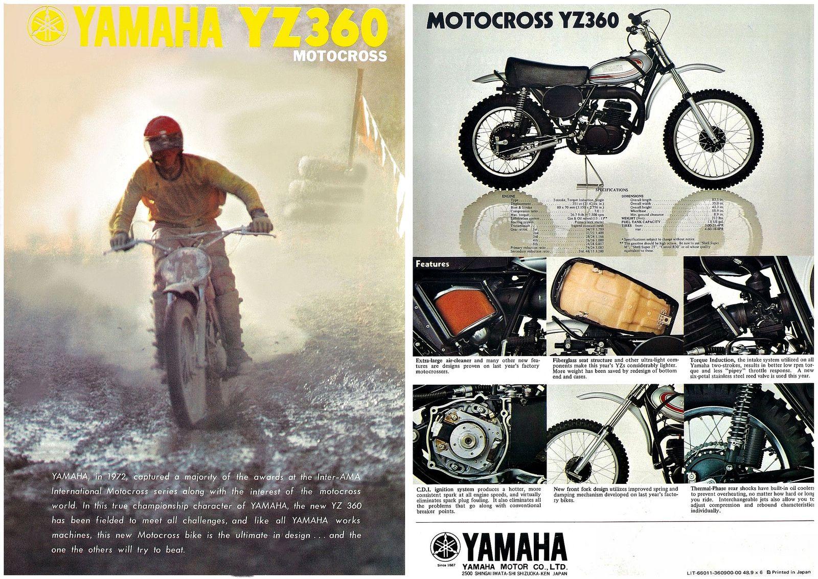 Yamaha Brochure Yz360 1973 1974 Vmx Sales Yamaha Yamaha Bikes Motocross
