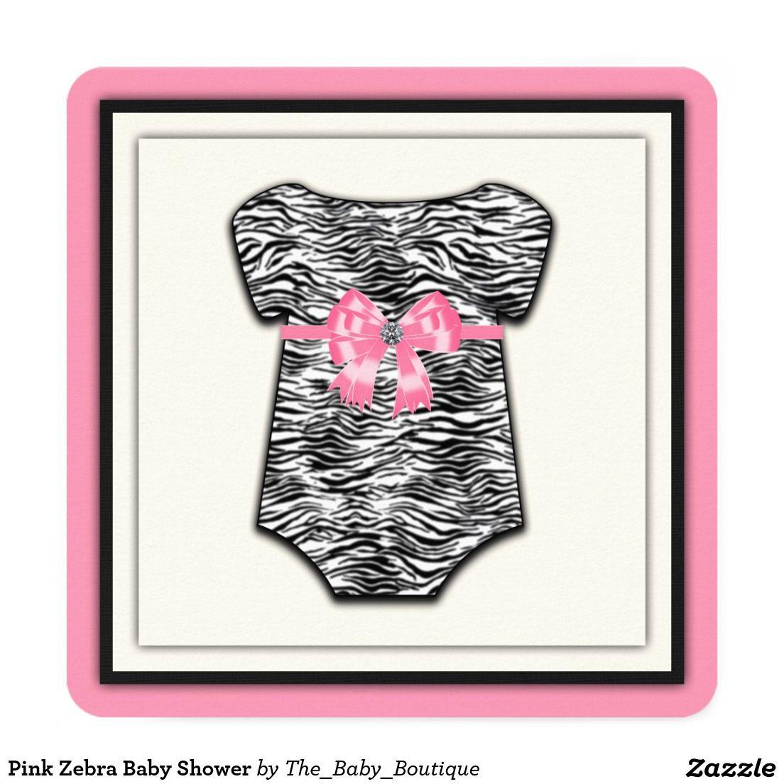 Pink Zebra Baby Shower 525x525 Square Paper Invitation Card Girl
