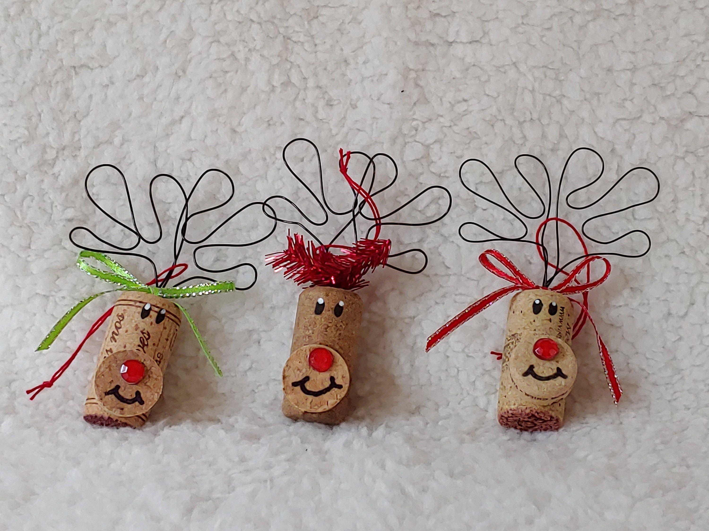Christmas Ornament Set Of Three Reindeer Ornaments Wine Etsy Wine Cork Ornaments Wine Cork Crafts Christmas Cork Ornaments