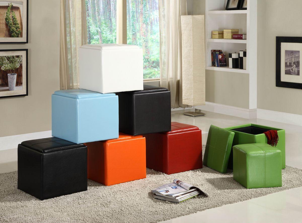 Ladd collection storage cube ottoman orange bicast vinyl rn