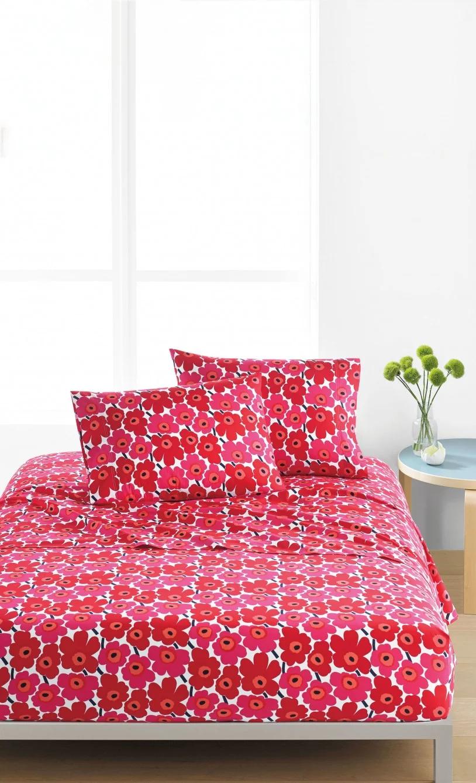 Mini Unikko Twin sheet set white, red Twin sheet sets