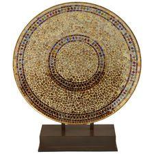 Champagne Decorative Mosaic Platter With Stand Mosaic Decor Mosaic Vases Decor