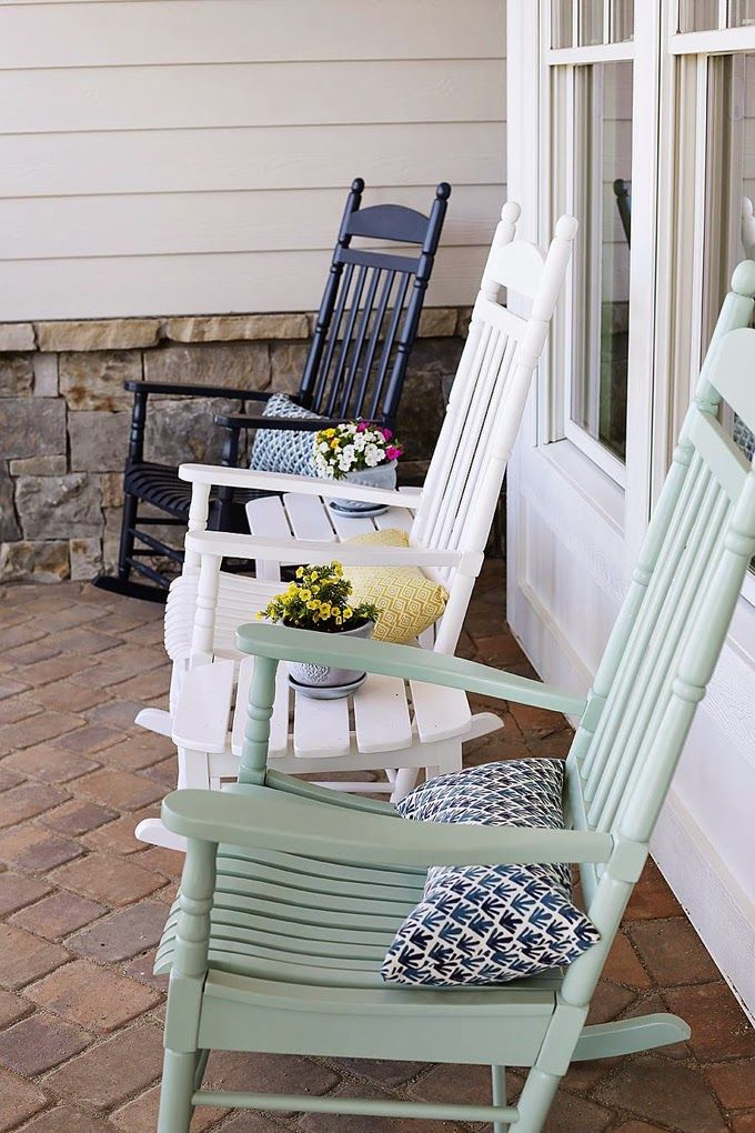 Front Porch Decorating Ideas With The Perfect Adirondack Chairs Our House Now A Home: Rocking Chair Porch, Porch Chairs, House Of Turquoise