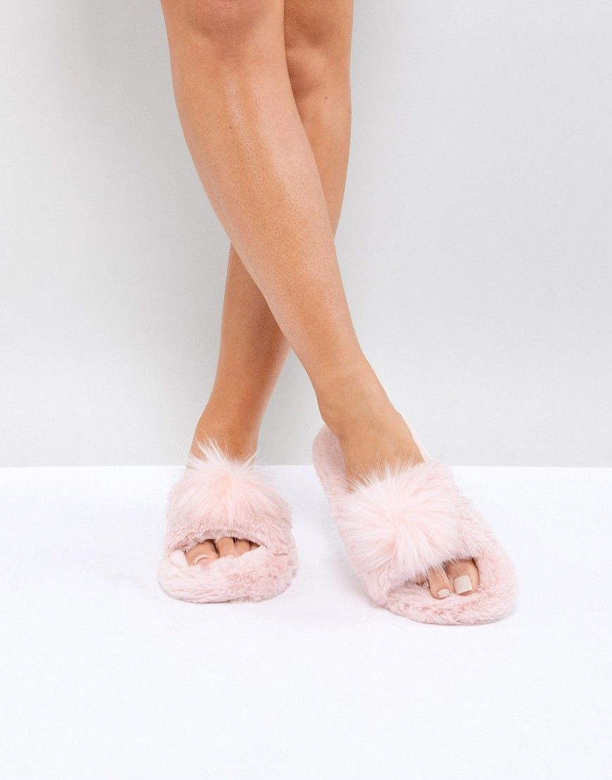 6e87a2af28ff NEW LOOK POM SLIDER SLIPPERS - PINK.  newlook  shoes