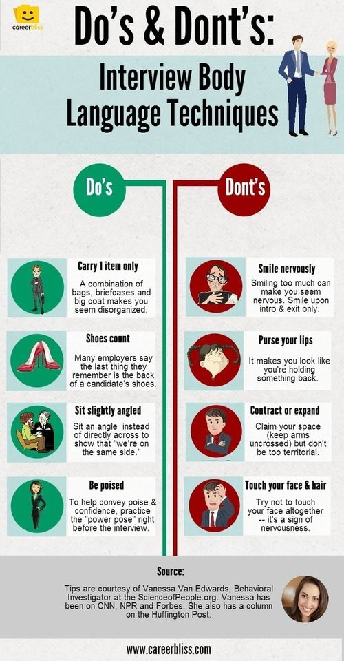 body language tips for job interviews infographic