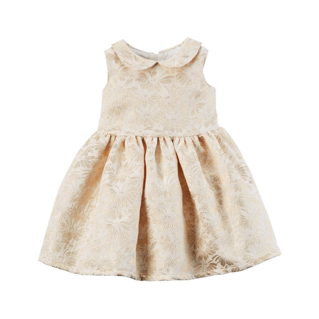 36f7c68019de Baby Girl Carter s Gold Print Peter Pan Collar Dress