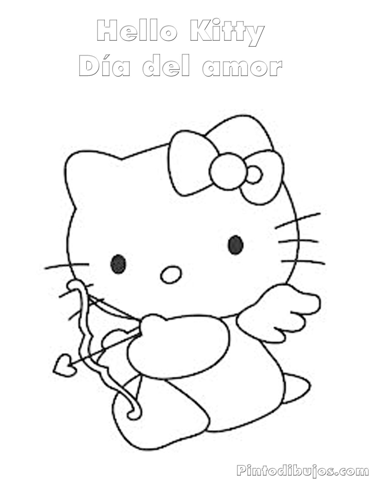 Hello kitty butterfly coloring pages - Hello Kitty Valentines Day Coloring Pages
