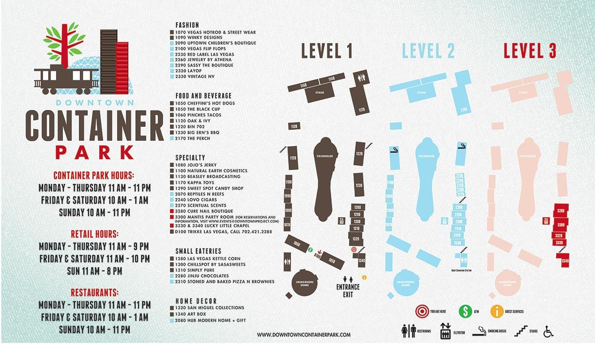 The Park Las Vegas Map.The Downtown Container Park Located On Historic Fremont Street Is