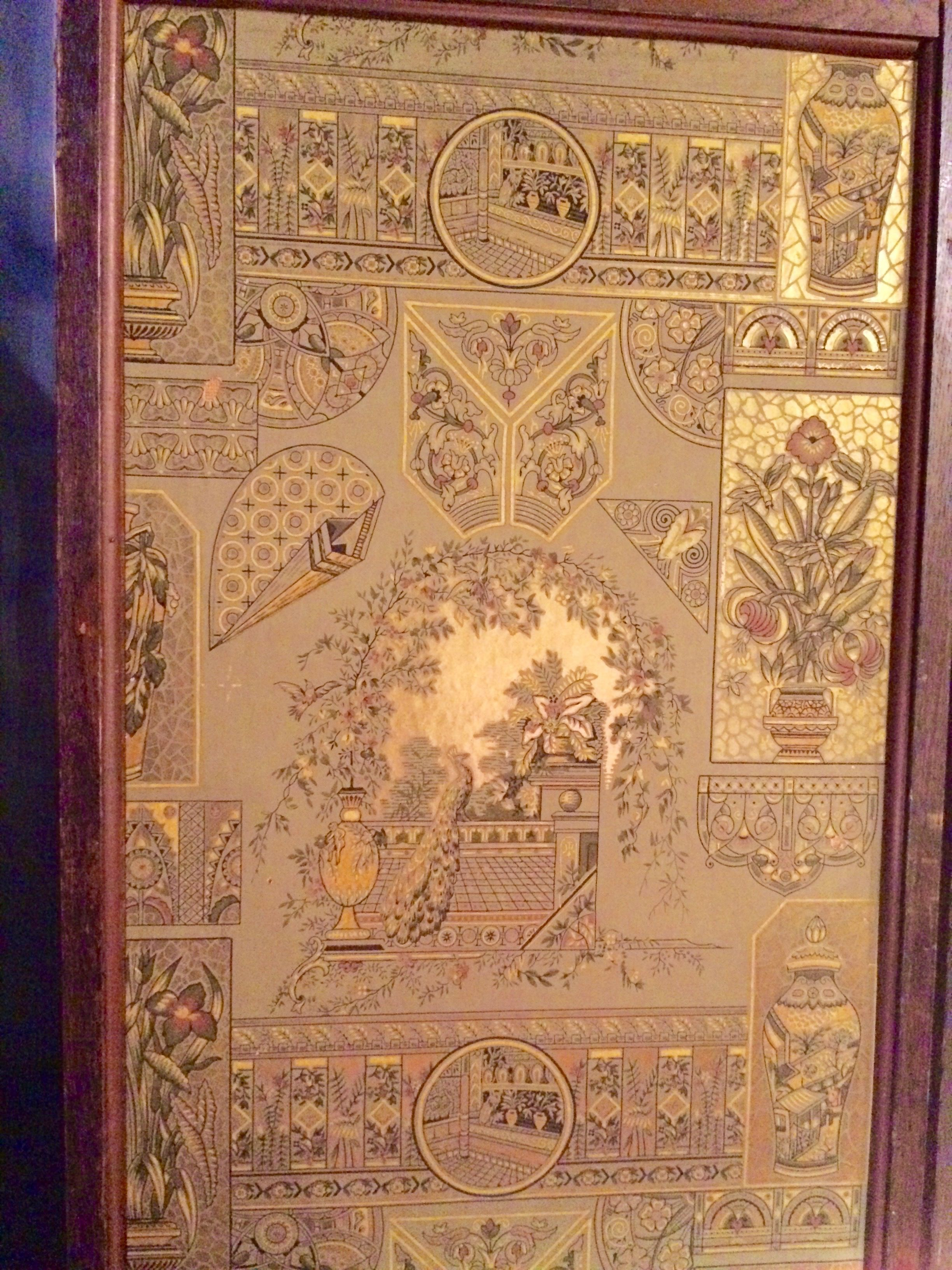 Fascinating Anglo-Japanese wallpaper detail on a tri-fold wallpapered screen with six different wallpapers. Seen at the Syracuse Antiques Exchange, ...