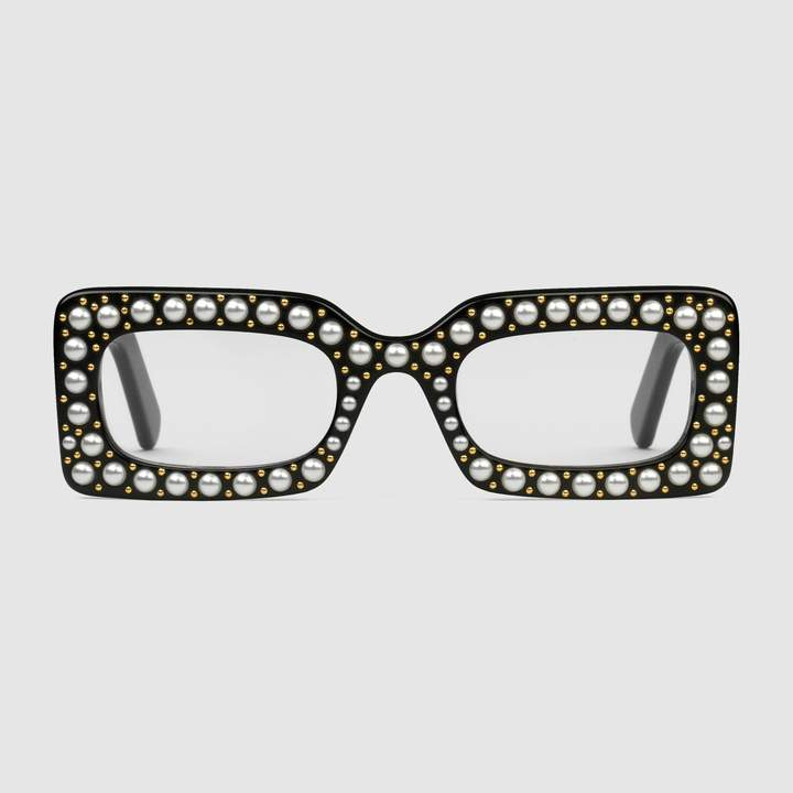 c6261b94ec Gucci Rectangular-frame acetate sunglasses with pearls