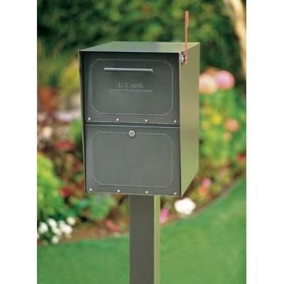 Architectural Mailboxes Oasis Post Mount Or Column Mount Locking Mailbox In Graphite Bronze With Outgoing Mail Indicator 5100z The Home Depot In 2020 Architectural Mailboxes Steel Mailbox Mounted Mailbox