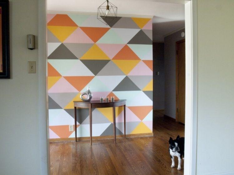 bunte dreiecke auf weißem hintergrund streichen | wände ... - Essecke Streichen Ideen