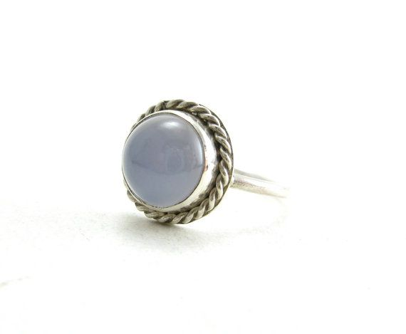 Natural Lavender Blue Chalcedony Gemstone Sterling Silver Ring ( i love thisss, turquoise)