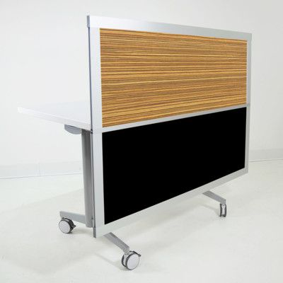 LOFTwall 4' Privacy and Modesty Desk Divider Bottom Panel Finish: Black, Top Panel Finish: Zebrano
