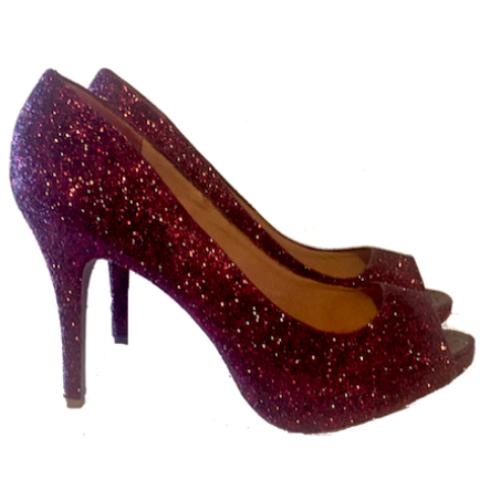 41db10340 Sparkly Burgundy Maroon Peep Toe Glitter Heels wedding bride shoes prom  pumps