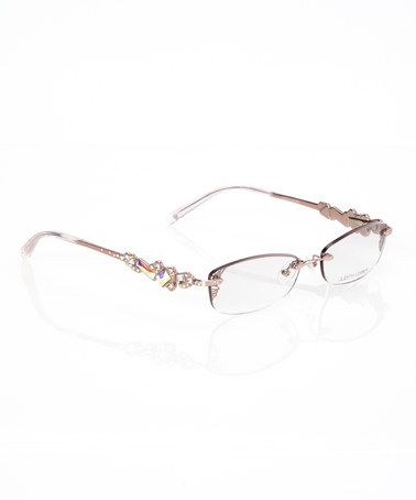 10d1ed0a54f Rose Gold Crystal Embellished Rimless Glasses by Judith Leiber ...